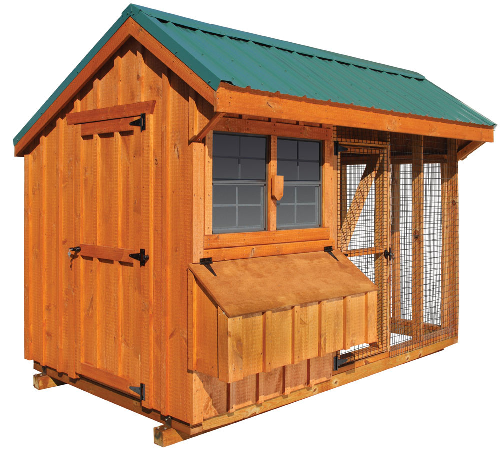 Bayhorse gazebos barns chicken coop combination 6 39 x for Chicken coop size for 6 chickens