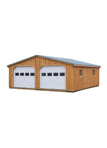 Pine Board & Batten One Story - Two Car Garage 24' by 36' - Custom Order