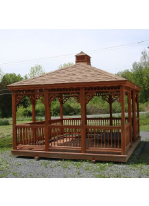 Rectangle Wood Gazebo - 12' x 14' Colonial Style - Custom Order