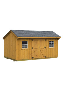 Pine Board & Batten Hudson Shed - Quaker Roof  10' by 16' - Custom Order