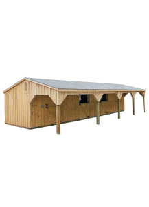 Pine Board & Batten Horse Barn 12' by 24' with 10' Hinged Lean-To - Custom Order