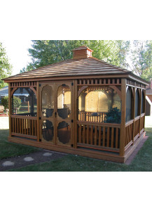 Rectangle Wood Gazebo - 12' x 14' Dutch Style - Custom Order