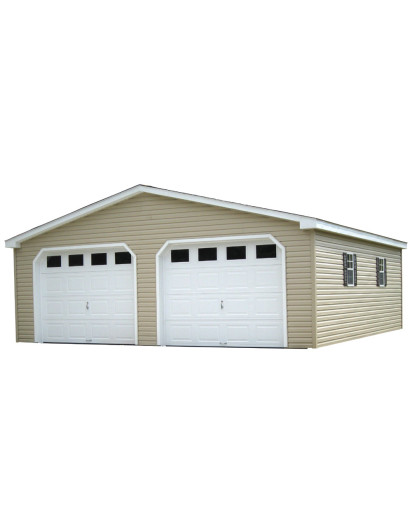 Vinyl Ranch A-Frame One-Story - Two-Car Garage 24' x 24' - Custom Order