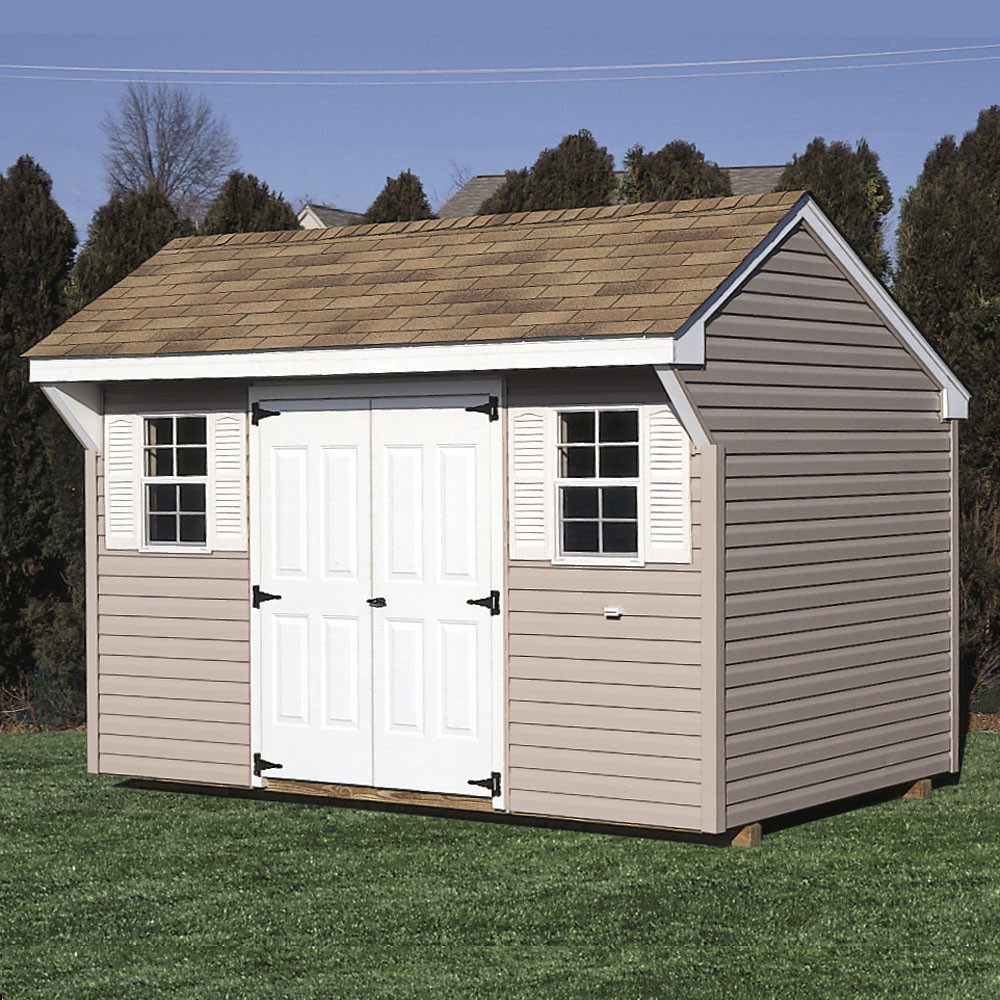 Bayhorse gazebos barns quaker shed 10 39 x 12 39 vinyl for Sheds and barns