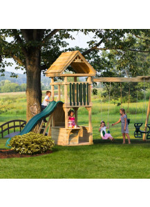 4x4 Challenger Wood Playset with Wood Roof, Poly Slats and Lemonade Stand - Custom Order