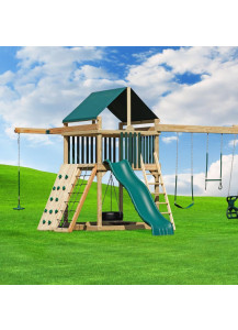 6x6 Challenger Wood Playset with Tarp Roof, Poly Slats and Sky Glider - Custom Order