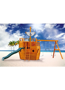 Cutter Wood Playset with Sail, Wonder Wave Slide and Captain's Wheel