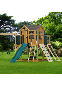 Expedition Wood Playset with Poly Slats, Rock Wall and Cargo Net - Custom Order