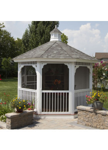 Octagon Vinyl Gazebo - 12' Country Style - Custom Order