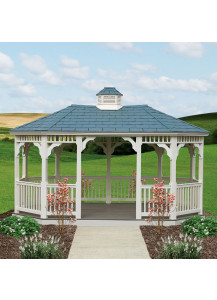 Oval Vinyl Gazebo - 10' x 14' Country Style - Custom Order