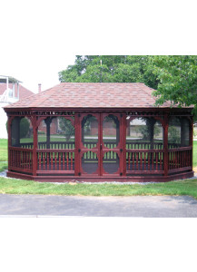 Oval Wood Gazebo - 12' x 14' Colonial Style - Custom Order