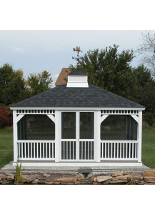 Rectangle Vinyl Gazebo - 12' x 14' Country Style - Custom Order