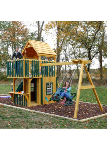 Jefferson Trading Post Wood Playset with Wood Roof and Poly Slats - Custom Order