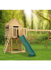 Jefferson Tree House Wood Playset with Wood Roof and Wonder Wave Slide - Custom Order