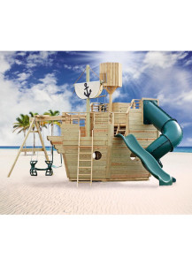 Voyager Wood Playset with Sail, Crow's Nest and 7' Tornado Tube Slide