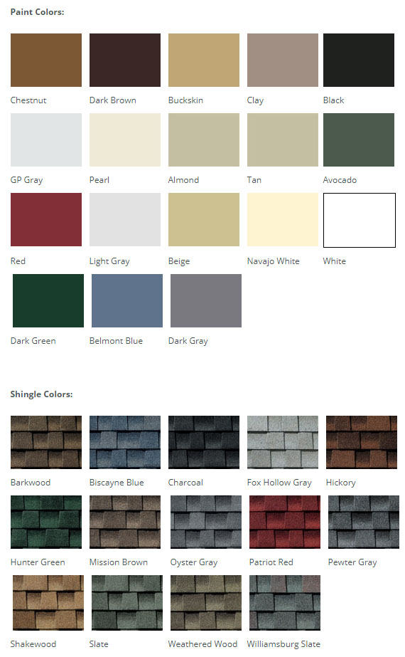 Duratemp Shed Color Choices