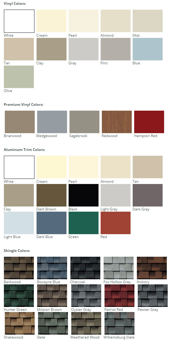 Vinyl Shed Color Choices