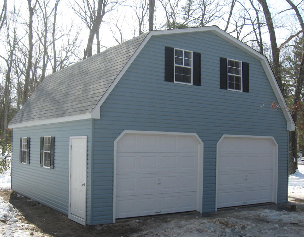 Vinyl Dutch two-story two-car garages